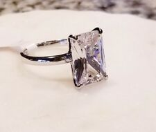 925 STERLING SILVER 6 CT 10 MM X 14 MM RADIANT CUT CZ ENGAGEMENT RING SIZE 6,75
