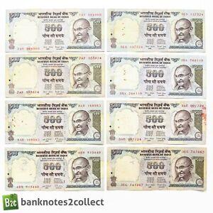 INDIA: 8 x 500 Indian Rupee Banknotes.