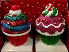 CUPCAKE STOCKING HOLDERS CHRISTMAS HOLIDAY CANDY DECOR PEPPERMINT Candy Cane