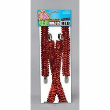 SHOWBIZ GLAMOUR CIRCUS RED SEQUIN BRACES Unisex Fancy Dress Costume Accessory