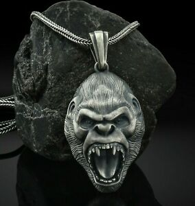 Gorilla Men Pendant, Angry Gorilla Necklace, Gorilla Head Necklace, Silver Chain
