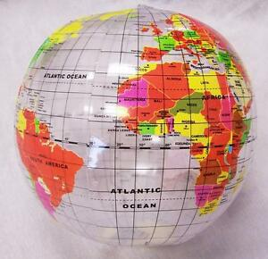 2 INFLATABLE 12 INCH CLEAR WORLD GLOBE inflate earth ball sphere novelty map new