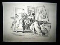Incisione d'allegoria e satira Giuseppe Garibaldi a Nizza  Don Pirlone 1851