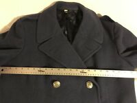 VINTAGE US AIR FORCE 28 OZ PURE WOOL BLUE SHADE 85 TRENCH STYLE OVERCOAT