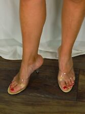 Onex Vintage Retro Womens Clear Heels Size 8 60's Style