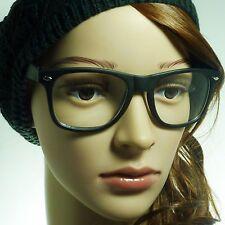 RETRO Oversize Nerd Soft Matte Unisex Frame Trendy Clear Lens Eye Glasses BLACK