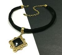 Vintage 1928 Black Crystal Choker Necklace Victorian Black Velvet Gold HH24K