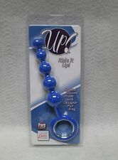 """Up Ride It Up Blue 6"""" 5 Graduated Anal Beads Silicone Butt Probe Retrieval Ring"""
