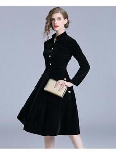spring/autumn women's fashion temperament stand collar velutum A-line Dress W