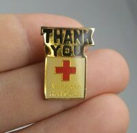 Vintage AMERICAN RED CROSS Thank You pin button pinback *EE91