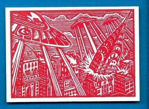 TOPPS MARS ATTACKS OCCUPATION *WOOD CUT ART CARD MA-LP 3 MARTIANS TAKE MANHATTAN