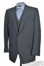 HUNTSMAN & SONS Gray Striped 100% Wool 2 Piece Blazer Jacket Vest - BESPOKE 42 L