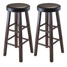 Marta Set of 2 Round Bar Stool, PU Leather Cushion Seat, Square Legs, Assembled