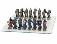 "15"" American Civil War Chess Game Set  Glass Board 3 1/2"" King Polyresin New"