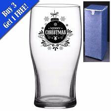 Novelty Christmas Pint Beer Cider Glass - Merry Christmas Perfect Christmas Gift