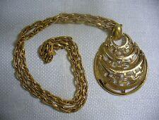 "Vintage Monet Goldtone Metal Link Chain Jointed Tear Drop Pendant 29"" Necklace"