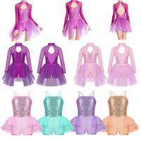 Girl Kids Sequin Leotard Shorts Skirt Dance Dress Costume for Ballet Gymnastics
