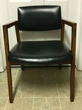 Vintage Mid Century  B. L. Marble Furniture Co. Walnut & Black Vinyl Arm Chair