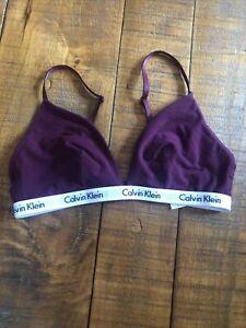 Women's CALVIN KLEIN Bralette Lounge Bra Maroon Size Medium