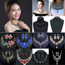 Fashion Women Statement Choker Chunky Crystal Chain Pendant Collar Bib Necklace