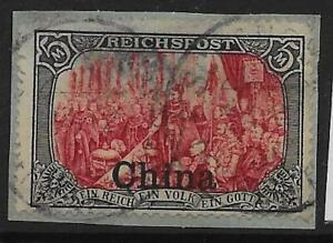 GERMAN P.O.'S IN CHINA SG35a 1904 5m LAKE & BLACK TYPE II USED ON PIECE