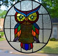 Contemporary Owl Stained Glass Window