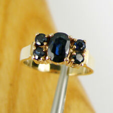 0.97 carats Fine Blue Natural Sapphire Gemstone Ring Genuine 375 9k Yellow Gold