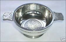 """QUAICH WHISKY CUP CELTIC DESIGN MADE IN SCOTLAND PEWTER 2.5"""" TOASTING VESSEL NEW"""