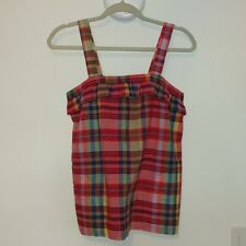 J. CREW RED ORANGE GREEN PLAID CHECKERED TANK TOP SHIRT GUC SZ 2 XS