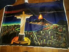 City of God Brazil Oil Collage Abstract Modern Art Christ Redeemer Statue Canvas