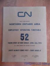 1970 Canadian National Railways Employee Timetable 52 Great Lakes Region