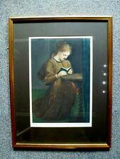 Antique Ellen Jowett framed Print signed numbered 40 Portrait of a Woman praying