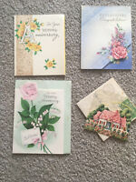 Vintage Lot of 4 Wedding Anniversary Greeting Cards 1940'S scrapbook QUALITY
