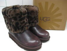 RRP£120 NEW BNIB brown leopard sheepskin UGG BOOTS size UK 2 ELLEE ANIMAL STOUT