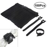 100 Fascette Per Cavi Con strap in Velcro NERO Cavo Striscia Velcro