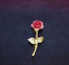 Valentine Gift Jewelry Pin Long Stem Rose Gold Stem Vintage w/ Sheer Drawstring