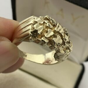 Solid 10K Yellow Gold Mens Nugget Ring Heavy Diamond Cut Wide Face, Size 9 1/2