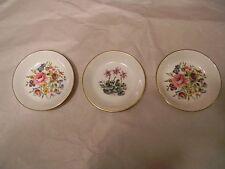 Vintage Set of 3 Royal Worcester Fine Bone China Plates England flower patterns