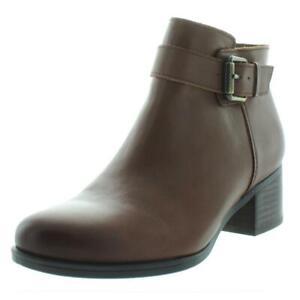 Naturalizer Womens Dora Brown Leather Booties Shoes 8.5 Medium (B,M) BHFO 0191