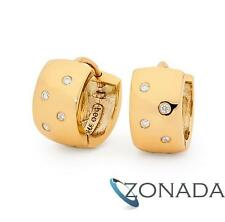 New Classic Natural JP2 Diamond 9k 9ct Solid Yellow Gold Huggie Earrings 53766