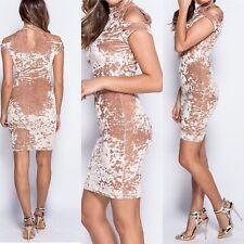 Parisian Ladies Gold Velvet Cross Shoulder Dress Size 14 New With Tags