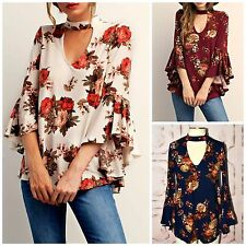 Boho Ivory Navy Wine High Neck Keyhole Cutout Floral Bell Sleeve Knit Top S-L