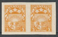 Latvia  1923  2 sant.  2 mint stamps no gum imperf.