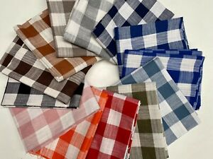 """Gingham Linen Checked Cotton Vichy Fabric Plaid Material Buffalo Check 55"""" Wide"""