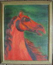 ::M. MERKEL °ÖLGEMÄLDE ROTES PFERD UM 1960 ? MODERN ART GALERIEBESITZ / LSZ