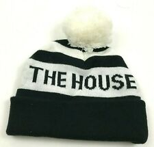 The House Beanie Hat Knit Cap Black White Pom Puff Ball Knit Flip Up Fitted