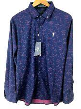 William Murray Mens Blue Purple Geometric Button Long Sleeve Golf Shirt Medium