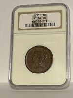1851 NGC MS 64 BN Braided Hair Large Cent Coin 1c