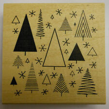 Retro Christmas Trees Background Rubber Stamp - Wood mounted JudiKins