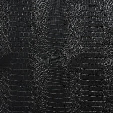 Black Crocodile Reptile Snake Skin Texture Vinyl Upholstery Fabric